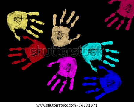 Colorful hand prints isolated on black background, vector illustration