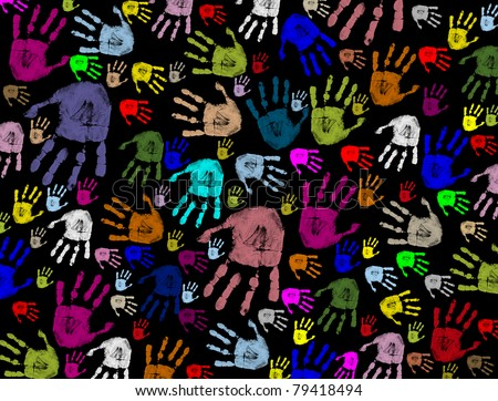 Colorful hand prints on black texture background, vector illustration
