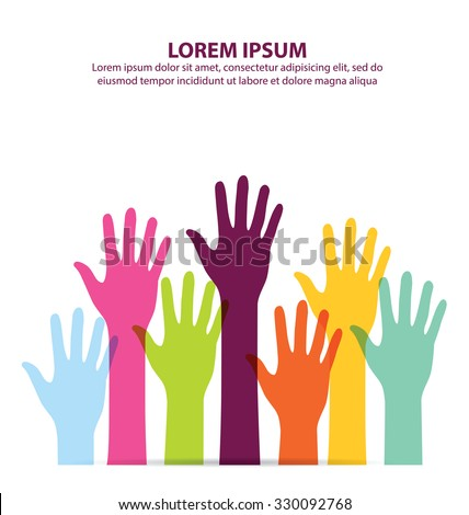 Colorful Hand Up Vector