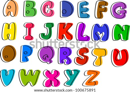 Colorful hand written ABC letters from A to Z, vector
