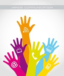 colorful hands communication over white background. vector illustration
