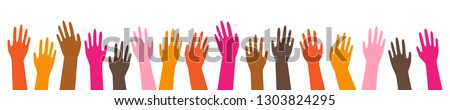 Colorful hands, different ethnicities, rising up, simple horizontal banner, isolated on white background