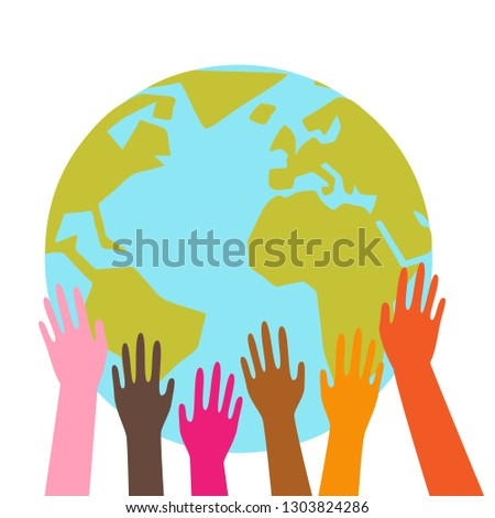 Colorful hands holding planet earth, globe, different ethnicities, simple graphic