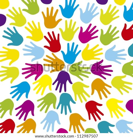 colorful hands over white background. vector illustration