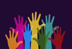 Colorful hands raised. Free speech, voting, group