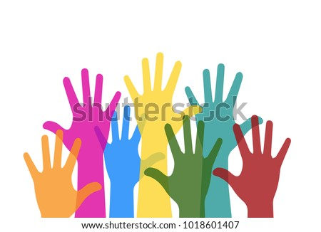 colorful hands raised free