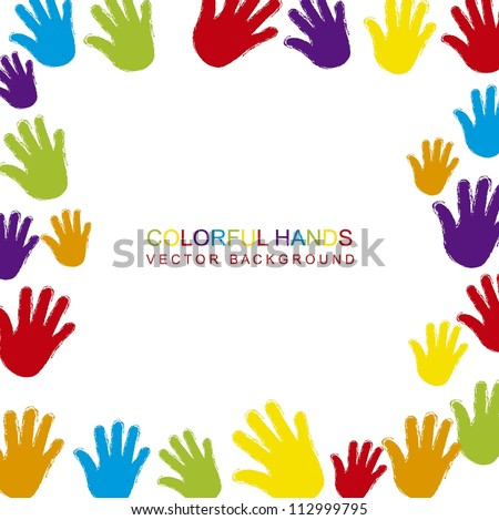 colorful hands with space for copy. vector illustration