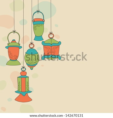 Colorful hanging Arabic lamps on abstract background for holy month of Muslim community Ramadan Kareem.