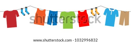 colorful hanging laundry vector decorative garland isolated on white background #1032996832