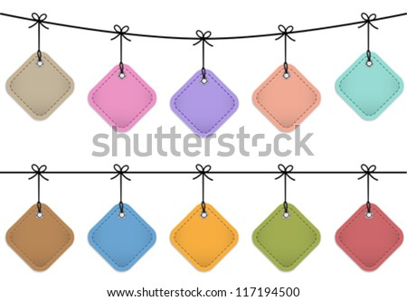 Colorful hanging leather labels. Design templates. Vector illustration