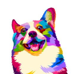 Colorful happy dogs smile beautifully with pop art style