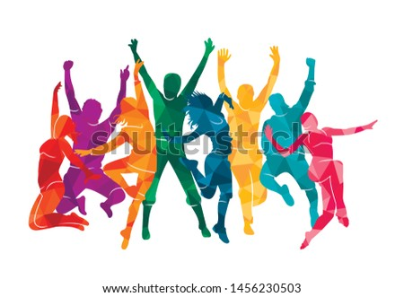 Colorful happy group people jump vector illustration silhouette. Cheerful man and woman isolated. Jumping fun friends background. Expressive dance dancing, jazz, funk, hip-hop hands up