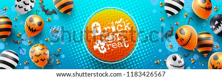 Colorful Happy Halloween trick or treat on Blue Background with Halloween Ghost Balloons.Scary air balloons.Website spooky,Background or banner Halloween template.Vector illustration EPS10