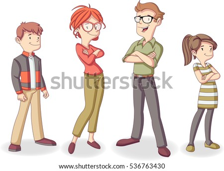 Colorful happy people. Cartoon family.