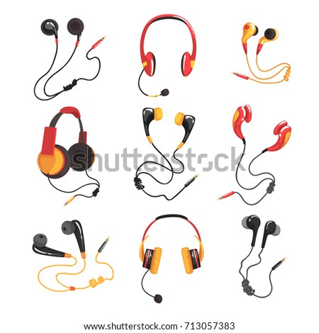 Colorful headphones and earphones set, music technology accessory vector Illustrations