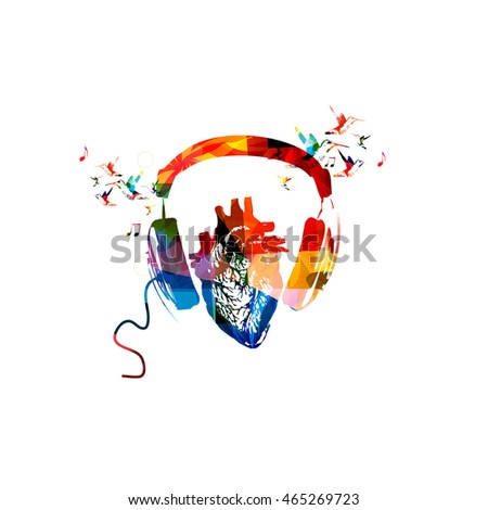 colorful headphones with human