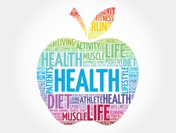 Colorful Health apple word cloud concept