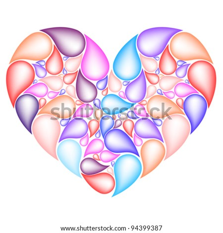 colorful heart from drops, vector