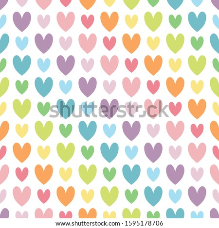 colorful heart in diagonal line. rainbow and pastel color concept. seamless pattern. vector illustration.