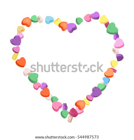 colorful hearts candy frame for