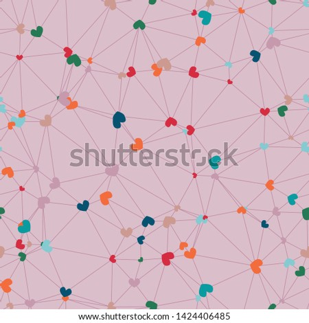 Colorful hearts on pink connected in a mesh network of triangles.  Generative art (made with code).