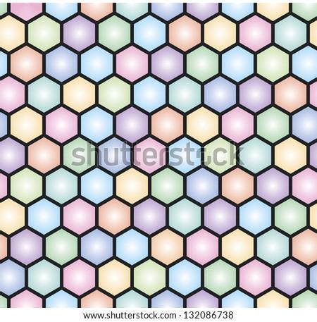 colorful hexagonal seamless mosaic pattern