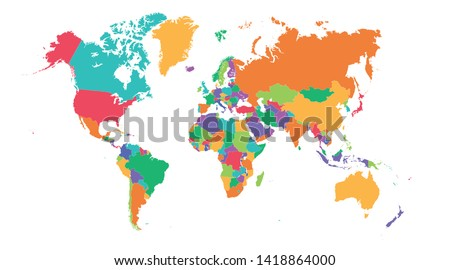 Colorful Hi detailed Vector world map #1418864000