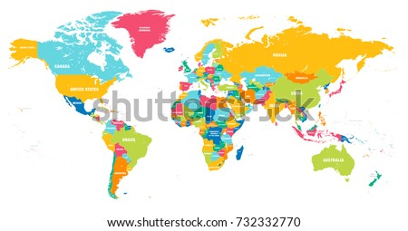 Colorful Hi detailed Vector world map complete with all countries names #732332770