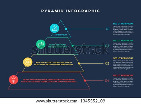 Colorful Hierarchy Pyramid Infographic elements with steps and description next to it - Vector EPS10