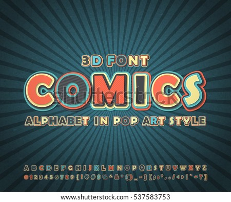 colorful high detail comic font ...