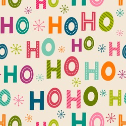 Colorful  Hohoho seamless pattern background for christmas design. Santa claus laugh.