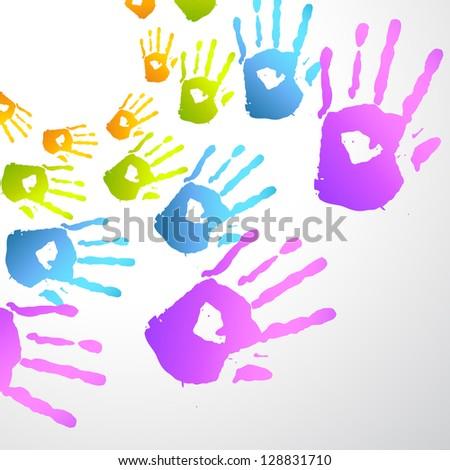colorful holi festival hands background