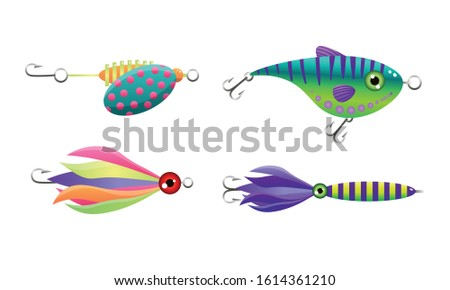 Colorful hooked fishes and baits at fishing vector illustration