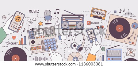 Colorful horizontal banner with hands and devices for music playing and listening - player, boombox, radio, microphone, earphones, turntable, vinyl records. Vector illustration in line art style