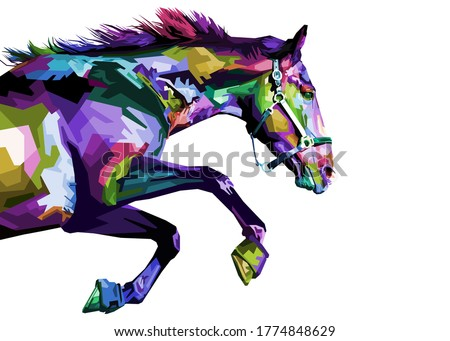 colorful horse running isolated