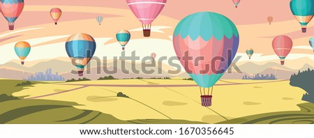 colorful hot air balloons fly