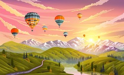 Colorful hot air balloons flying over mountain or landscape. Traveling, planning summer vacation, tourism and journey. Balloons in sky against backdrop of mountains sunset or sunrise over green meadow
