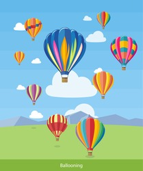 Colorful hot air balloons flying over the mountain. Icons of traveling, planning summer vacation, tourism and journey objects. Web banners, marketing and promotional materials, presentation templates