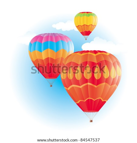Colorful hot air balloons on blue sky