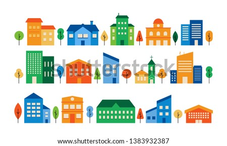 Colorful house exterior vector flat illustration. Residential town building set. Modern houses front view, townhouse building apartment, home facade with doors and windows.