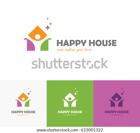 Colorful House Icon With Abstract Happy Human Silhouette. Health Center, Home  Care, Real. House Care Club Logo Design Template