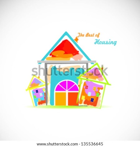 Colorful houses design vector background