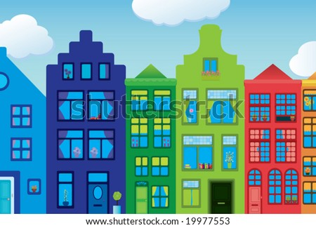Colorful houses, inspired by the Amsterdam Canal houses.
