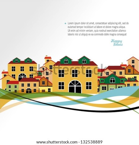 Colorful houses vector background