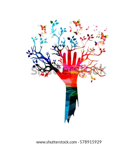 colorful human hand with tree