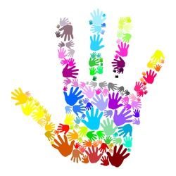 Colorful human handprint which is made up of multicolored small handprints. Vector art image in many rainbow colors, blue, green, red, orange, pink, purple, gray, yellow isolated on white background