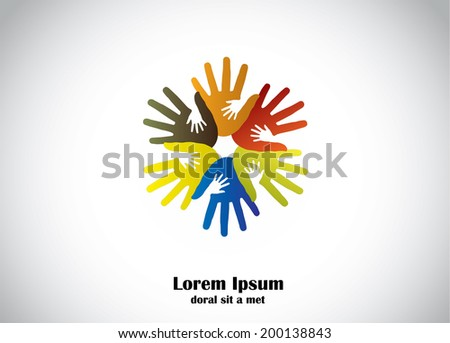 colorful human hands support