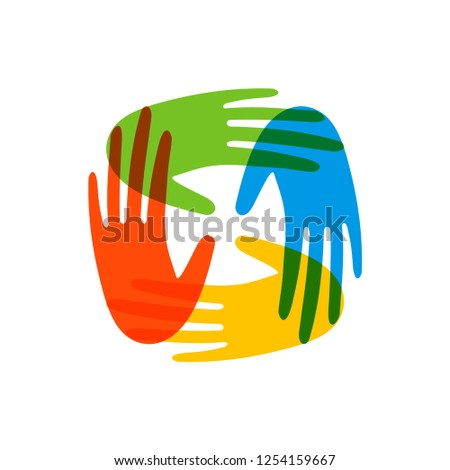 Colorful human hands together on isolated background. Social work illustration or community help.