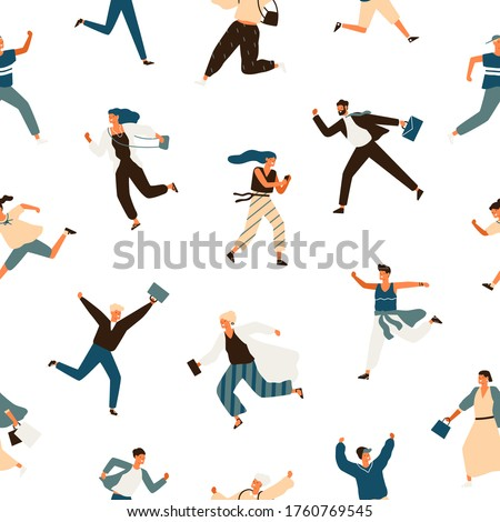 Colorful hurry man and woman seamless pattern. Running businessman, kid, teen, stylish female and office workers vector flat illustration. Hasten modern people in trendy clothes on white background Сток-фото ©