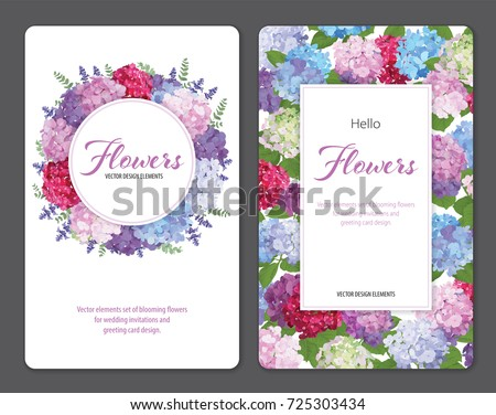 Colorful hydrangea flower and lavender on white background. Vector set of blooming floral for wedding invitations and greeting card design. #725303434